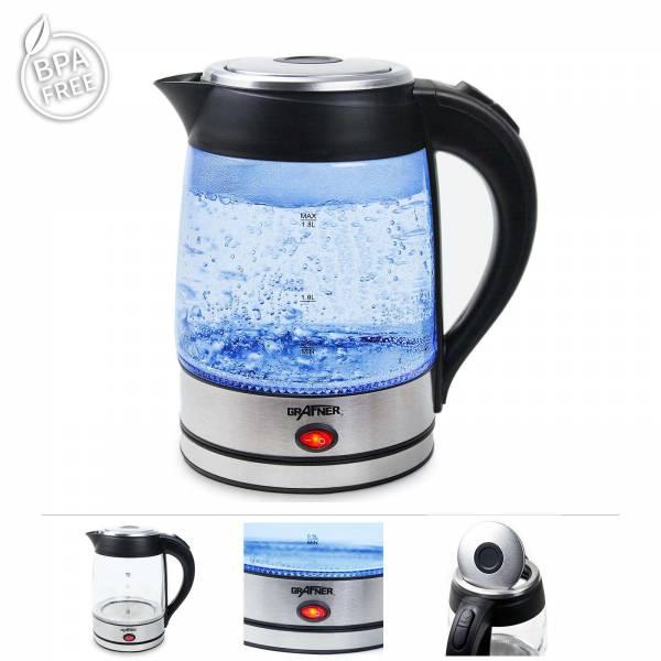 Grafner® Glas Wasserkocher mit Warmhaltefunktion auf 85°C und LED Beleuchtung 2200 Watt 1,8l