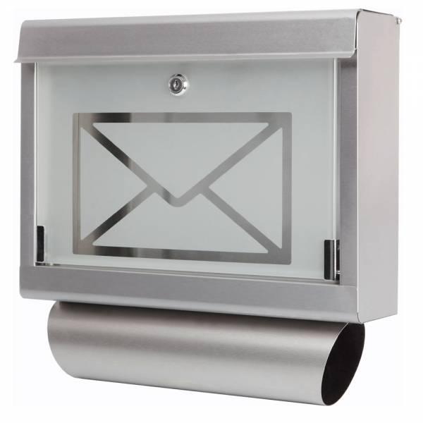 Grafner® Briefkasten mit Zeitungsrolle aus Edelstahl und Glas Motiv Briefumschlag Postkasten