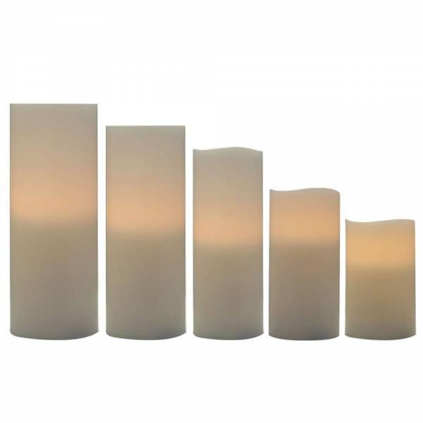 5er Set LED Echtwachskerzen zum Ausblasen - Höhe: 5cm / 7,5cm / 10cm / 12cm / 15cm