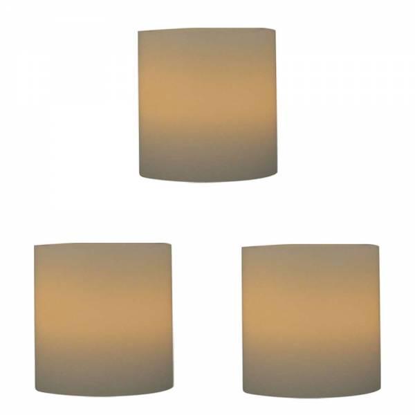 3er Vorteilspack LED Echtwachskerzen inkl. Batterie Ø 5cm Höhe 5cm
