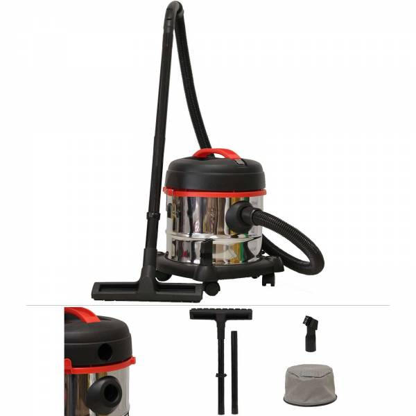 Grafner® Nass- und Trockensauger mit Blasfunktion inkl. Vliesfilter 1200 Watt 15L Edelstahlbehälter