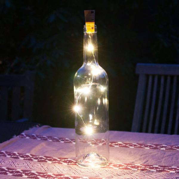 Grafner Korken mit LED Lichterkette für Weinflaschen Drahtlichterkette Flaschenbeleuchtung
