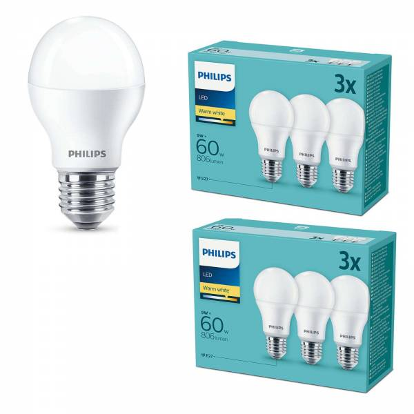 Philips 6er Set LED Leuchtmittel Signify E27 9W