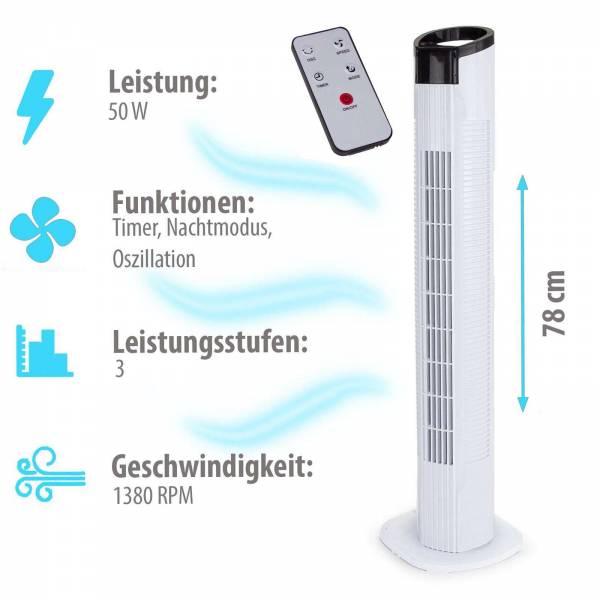 Grafner® Turmventilator mit Fernbedienung und Schwenkfunktion