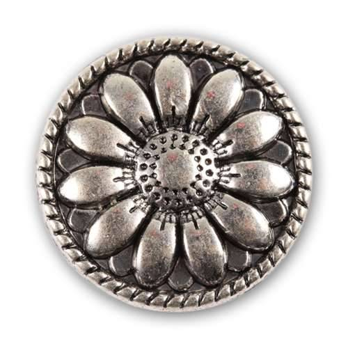 Druckknopf für Chunks-Armband Struktur Silber Blume