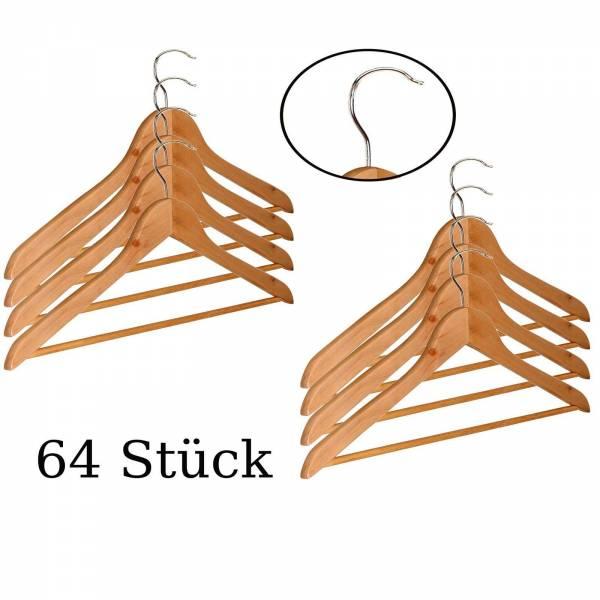 64 Stück Kleiderbügel aus Holz mit Hosenstange und Einkerbung für Träger