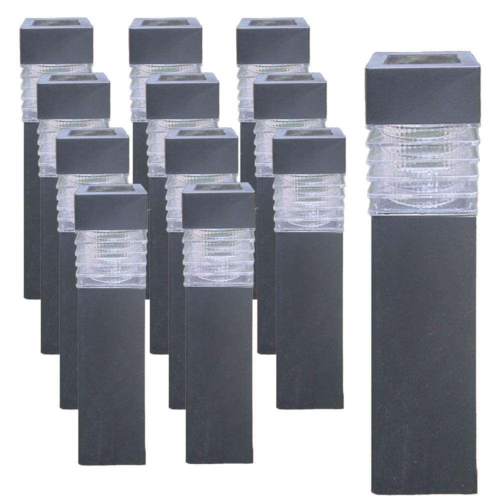 12er set grafner solar led gartenlampen eckig schwarz beleuchtung haushalt wohnen heuer gmbh. Black Bedroom Furniture Sets. Home Design Ideas