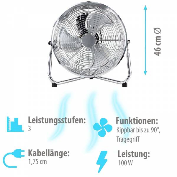 Grafner® Bodenventilator 46 cm mit rutschfestem Standfuß