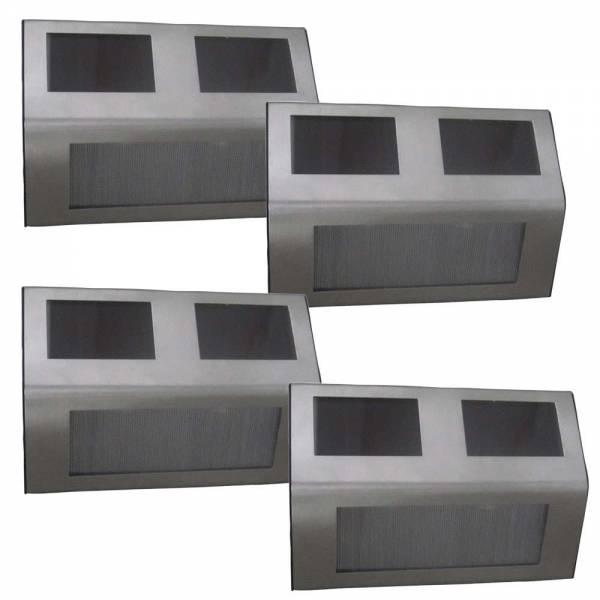 4er Set Grafner® LED Solar Stufenleuchte aus Edelstahl Treppenbeleuchtung Solar Wandleuchten
