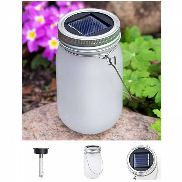 Grafner® LED Solarleuchte im Einmachglas mit 24 Micro LEDs Solarlaterne 13cm