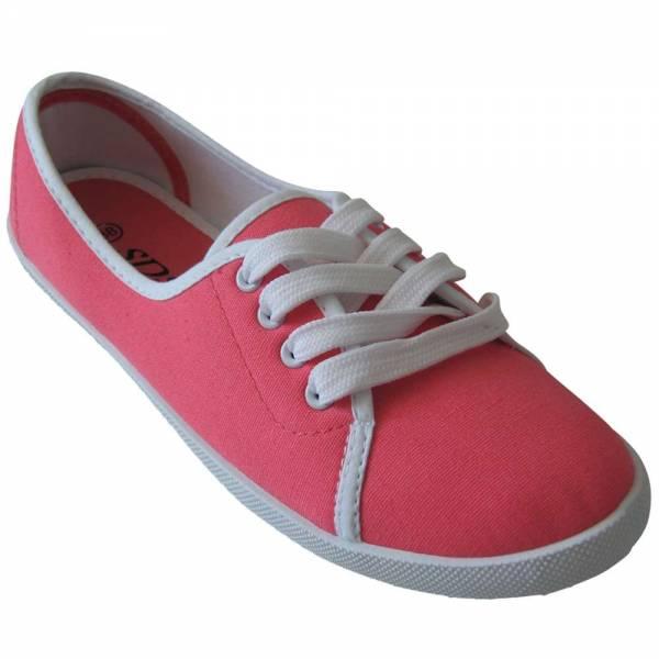 Damen Sneaker, Ballerina mit Schnüren Größe: 37 / Farbe: Coral